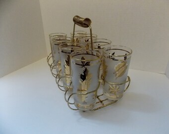 Set of 8 Tumblers Frosted with Gold Leaves and gold Trim with Caddy, 1950s or 60s Mid Century 12 ounce tumblers vintage glasses