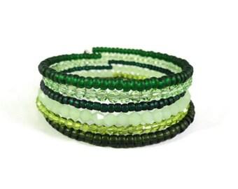 Green Wrap Bracelet, Crystal Bead Bracelet, Beaded Memory Wire Bracelet, Glass Bangle, Feather Charm Bracelet, Boho Jewelry, Gift for Her