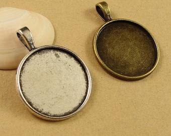 Wholesale 40 Pendant trays 25mm Round Bezel Setting Alloy Antique Bronze/ Antique Silver Cabochon Mountings, 152g - HA1423
