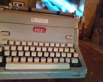 Vintage Royal  Gray ManualTypewriter 1950's Royal Manual Typewriter