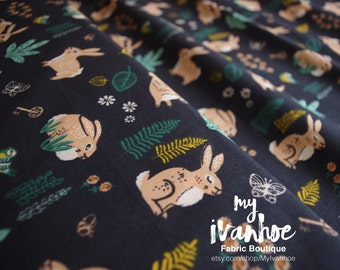 By the Yard - Quilt-Weight Poplin - Organic Cotton Fabric - Bunny Hop Dusk - The Hidden Garden Collection by Miriam Bos