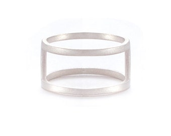 Silver Double Band Ring - Sterling Silver Ring - Silver Band Ring - Stacked Gold Ring - Stacked Ring - Double Ring Band