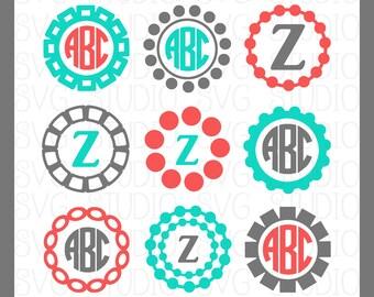SVG Monogram Frames, Circle SVG frames, Cricut Cut Files, Silhoutte Cut files, dxf, png,