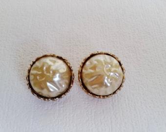 Mother's gift Vintage earrings clip on Earrings perl Vintage jewelry Wife gift Retro earrings clip on gold Vintage perl earrings