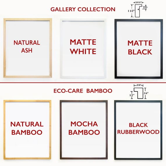 ADD 3 FRAMES - Gallery Quality Frames To Go Along With Your Print - Neilson Frames - Wood - Bamboo - Fine Art Frames -