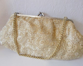Vintage Clutch Gold Brocade Purse 1950s Mid Century Mad Men Style