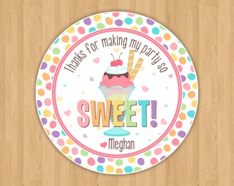 Ice Cream Party Favor Tags