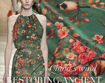 Floral Bird Butterfly Print Retro Green Stretch Silk Fabric Width 55 inch