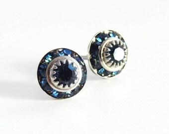 Navy blue crystal stud  earrings - vintage Swarovski crystal - navy blue earrings - blue earrings - crystal earrings