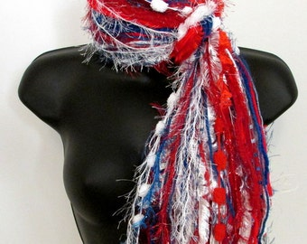 """Knotted Scarf All Fringe Scarves Womens Scarf - """"Our America"""" -red, white & blue -fiber art scarf"""