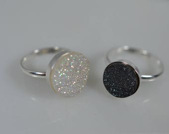 Sterling Silver Druzy Ring in Black or White
