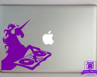 DJ Unicorn Macbook Laptop Decal