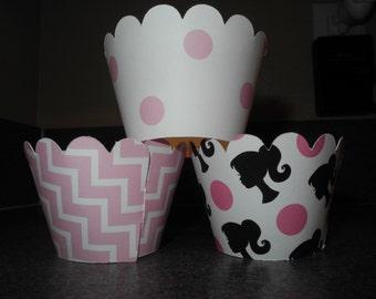 Barbie Cupcake Wrappers  Set of 12 Pink Chevron Polka Dot