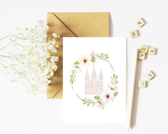 SLC Temple, Greeting Card, Printable Card, Temple Sealing, Temple Sealing Gift, Temple Sealing Card, Temple Card, LDS Temple, Sealing Gift
