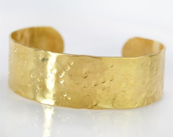 Wide Arm Band Bracelet, Hammered Brass Jewelry