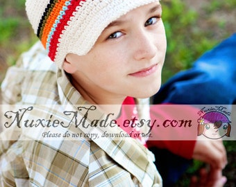 Stripe Newsboy Hat 2T-4T, Boys Crochet Hat, Childrens Hat, Hat with Brim, Boys Stripes Hat, Boy Hat, Winter Hat Beanie, Crochet Newsboy
