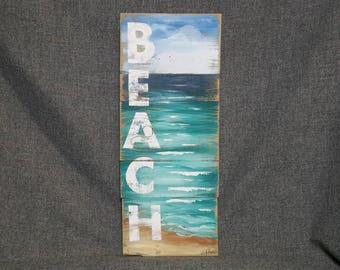 Pallet art beach, Pallet Beach wall Art, Nautical decor, Hand painted sign seascape BEACH, Cottage, Wall art, Distressed, Shabby Chic