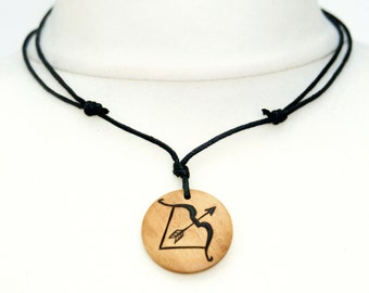 Bow and Arrow Necklace Archery Necklace Wooden Jewellery Artemis Necklace Archer Hunter Jewellery Men's Necklaces Ladies Gift Archery Choker