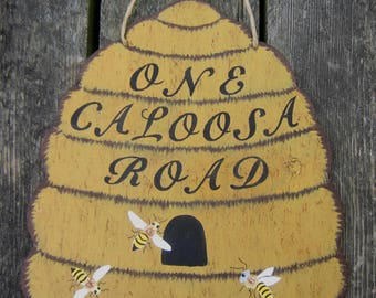 BEEHIVE Address Sign - Original Hand Crafted Hand Painted Wood - Large Size 14X8