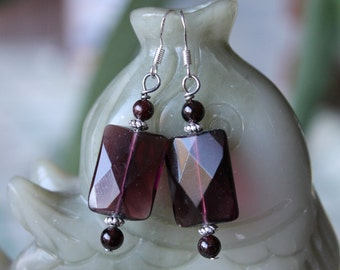 Rectangle Purple Quartz Earrings, sterling silver hook