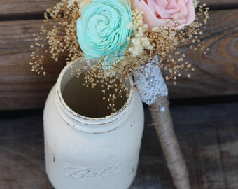 Blush Pink and Mint, Sola Bouquet, Flower Girl Wand, Bridesmaid Bouquet