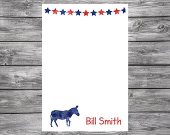 Political Notepad-Personalized- Democrat- Donkey- Republican- Elephant- 4x6