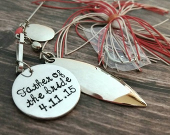 personalized hand stamped fishing lure, gift for dad, personalized lure, fishing hook