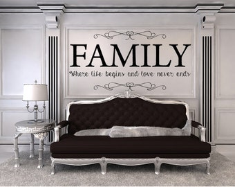 Vinyl Wall Quotes Family Where Life Begins And Love Never Ends Vinyl Wall Decal, Custom Vinyl Lettering Living Room Decal, Family Room Decal