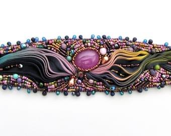 Bead Embroidered Bracelet with Shibori Ribbon