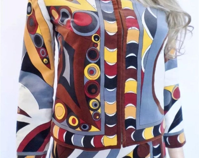 Vintage 1960's EMILIO PUCCI  PsYcHeDeLiC Op Art VELVET Outfit Skirt & Jacket Size 8 S - Collectible Signed Couture