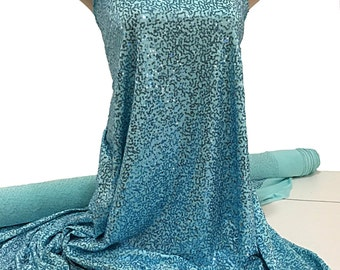 """Sewn on Sequin fabric 58"""" Baby blue  stretch all 4 ways..great for costumes, dance, theater, formal wear, pageant"""