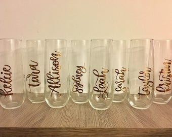 Custom Champagne Glass Decals, Perfect for weddings, bachelorette parties, bridal showers