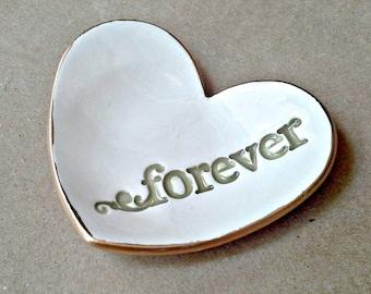 Ceramic Forever Heart Ring Holder Bowl white with gold edging