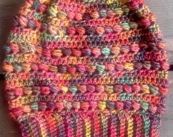 Rainbow Crochet Slouch Hat, Slouchy Beanie, Women's Crochet Slouch, Crochet Beanie, Natural Fiber, Wool