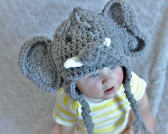 Elephant Hat - Baby Elephant Hat -  Baby Elephant Costume Hat - Baby Hats - Baby Halloween Costume  - by JoJo's Bootique