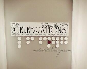 Family Birthday Board, Celebrations Board, Birthday Calendar, Family Celebrations, White and Black Wall Hanging