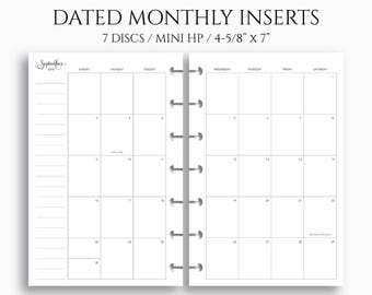 """Dated Monthly Calendar Planner Inserts, 2018 and 2019 MO2P, Sunday-Saturday Layout ~ 4.6"""" x 7"""" Discbound / Mini Happy Planner (MHP-MSS)"""