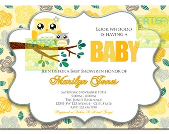 Yellow Gray Owls Baby Shower - Owls Mom and Baby Shower Invitation - Grey and Yellow Owls Baby Shower Invitation - Neutral Owls Baby Shower