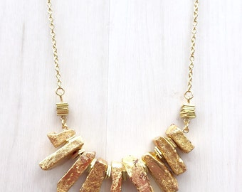 Gold Dipped Banded Jasper Necklace