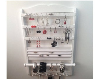 ON SALE Jewelry Holder White Jewelry Organizer Earring Holder, 21 x 14, Deluxe Ring Display, Bracelet Storage Necklace Rack