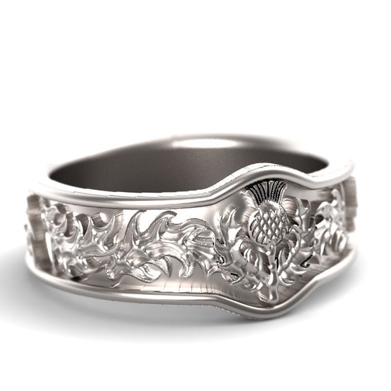 RESERVED FOR John Scottish Thistle Jewelry, Argentium Sterling Silver Thistle Ring, Unique Rings for Her, Botanical Jewelry 5043