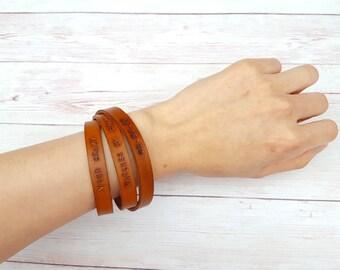 Personalized Men Leather Bracelet - Wrap Bracelet - Bracelet Homme - Gift for Men - Boyfriend Gift - Leather Jewelry - Friendship Bracelet