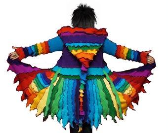 elf coat, size S - XXL, eLF sWEATER, sweater coat, fairy coat, hoodie, costume, patchwork coat, hippie coat, medival coat, rainbow sweater