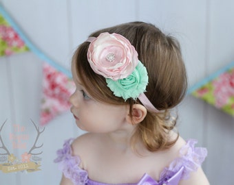 Spring Baby Headband - Pastel Pink & Mint - Newborn Infant Baby Toddler Girls Adult Wedding Spring Easter