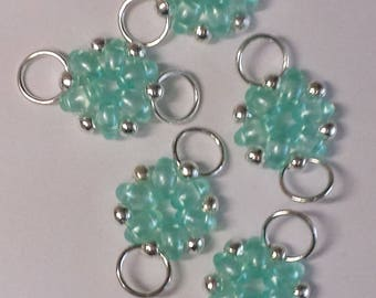 5 beads transparent clear green superduos connectors - 12x21mm