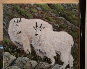 Original oil painting of mountain goats