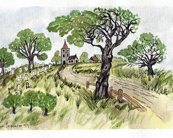 Original Pen and Ink with Watercolor Painting - Church and Cemetery at the End of the Lane - Original Art - Not a Print