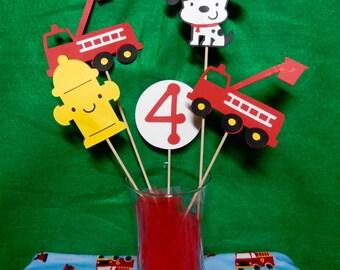 Firefighter/Fire truck birthday centerpiece