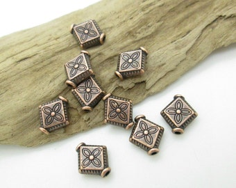 Antiqued Copper Diamond Shape Spacer Bead, 10x8mm (10)