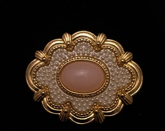 Gold and pink/coral costume jewelry Brooch